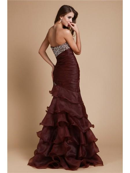 Trumpet/Mermaid Beading Organza Sleeveless Floor-Length Sweetheart Dresses