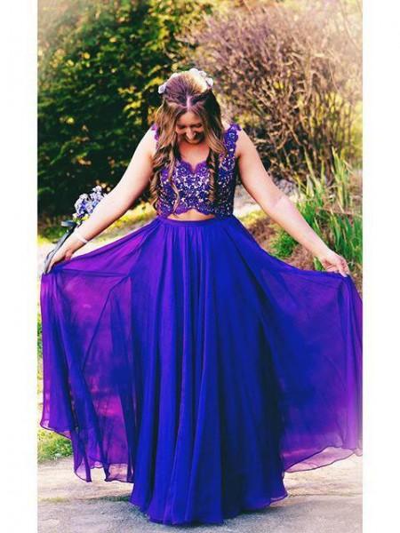 A-Line/Princess Straps Applique Floor-Length Chiffon Plus Size Dress