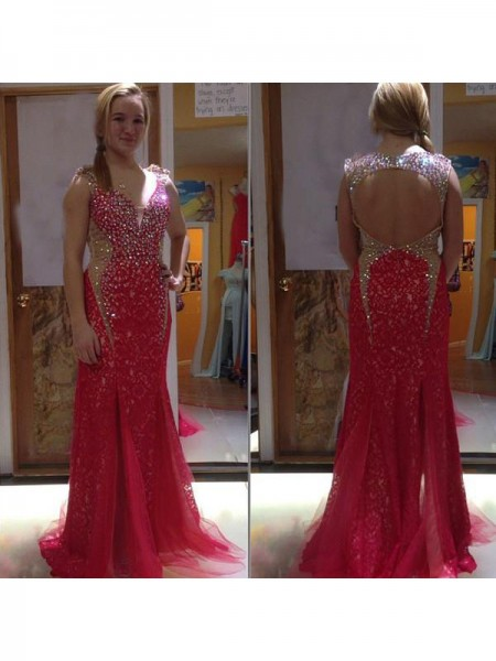 Trumpet/Mermaid V-neck Crystal Sweep/Brush Train Tulle Plus Size Dress
