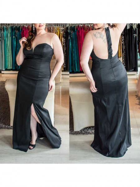 Sheath/Column Ruched Elastic Woven Satin Sleeveless Floor-Length Sweetheart Plus Size Dresses