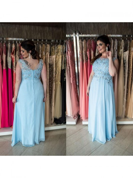 A-Line/Princess Beading Chiffon Sleeveless Floor-Length Scoop Plus Size Dresses