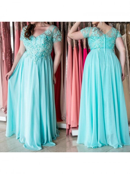 A-Line/Princess Applique Chiffon Short Sleeves Floor-Length Sweetheart Plus Size Dresses
