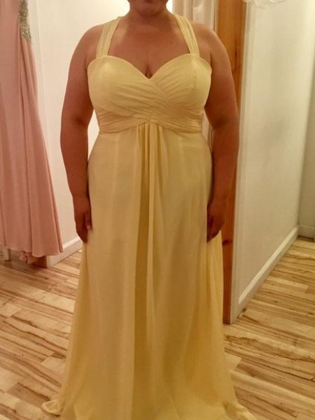 A-Line/Princess Ruched Chiffon Sleeveless Floor-Length Halter Plus Size Dresses