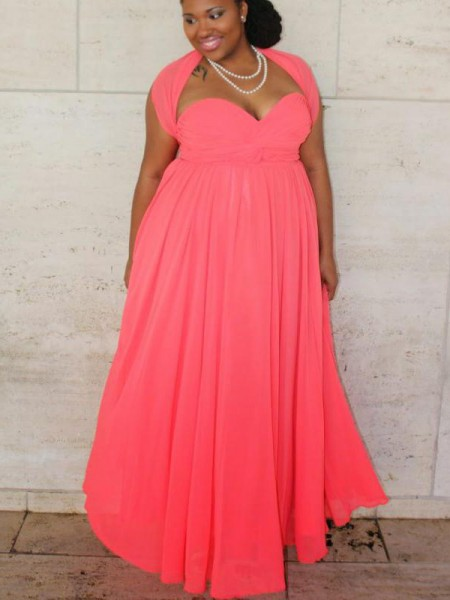 A-Line/Princess Sweetheart Ruched Floor-Length Chiffon Plus Size Dress