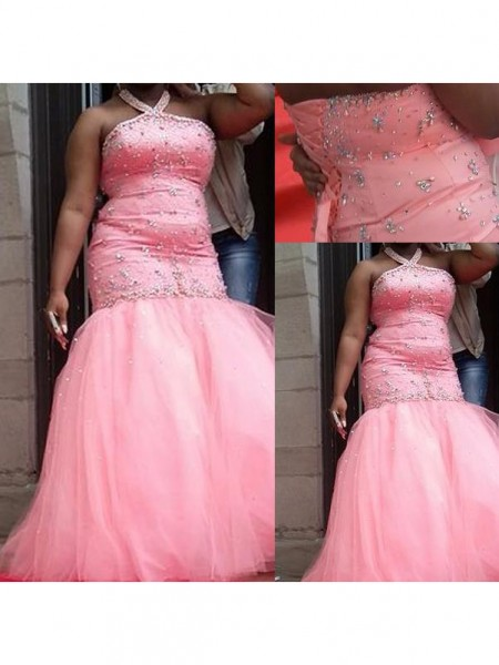 Trumpet/Mermaid Halter Beading Floor-Length Tulle Plus Size Dress