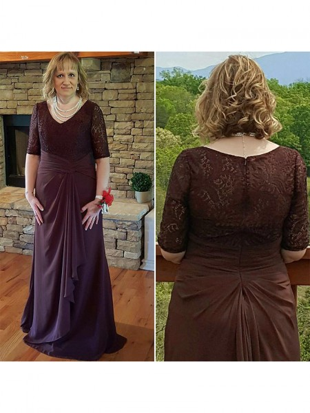 A-Line/Princess Lace Chiffon 1/2 Sleeves Sweep/Brush Train V-neck Mother of the Bride Dresses