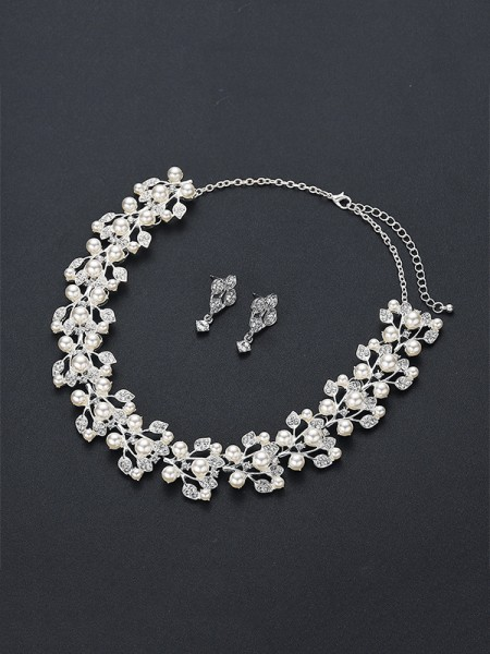 Trending Alloy With Pearl Jewelry Set For Womens