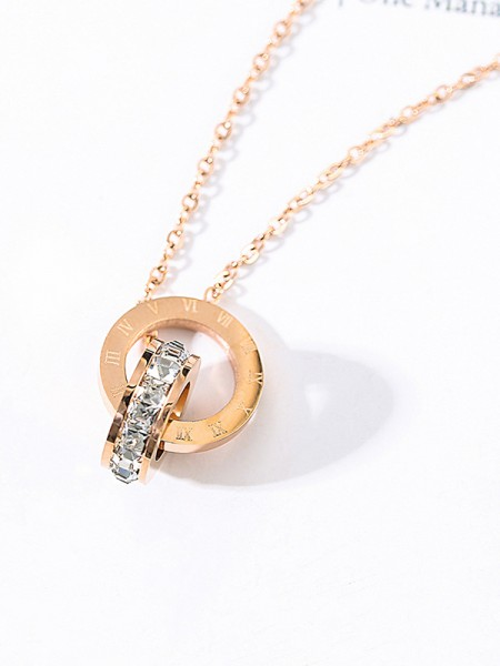 Charming Titanium With Zircon Necklaces For Womens