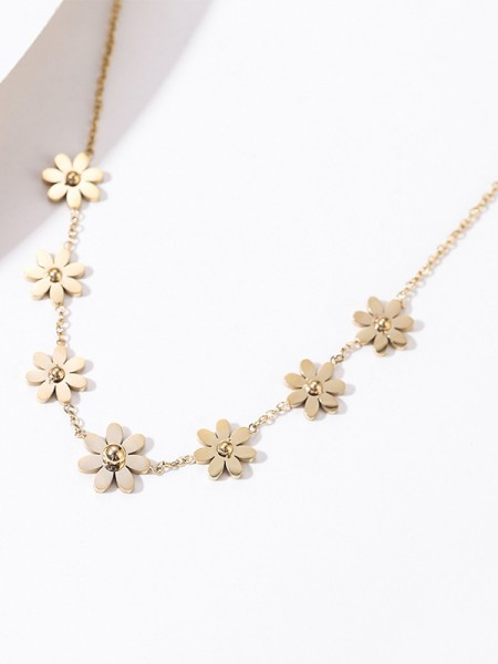 Beautiful Womens Titanium With Flowers Necklaces