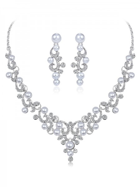 Ladies Elegant Alloy With Rhinestone And Pearl Jewelry Set
