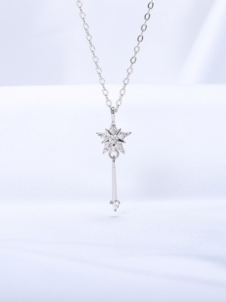 Pretty S925 Silver With Rhinestone Womens Necklaces