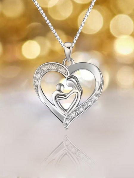 Unique S925 Silver With Rhinestone Necklaces For Mother