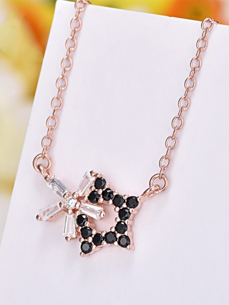 Elegant S925 Silver With Star Ladies Necklaces