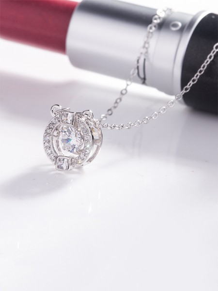 Womens Charming S925 Silver With Rhinestone Necklaces