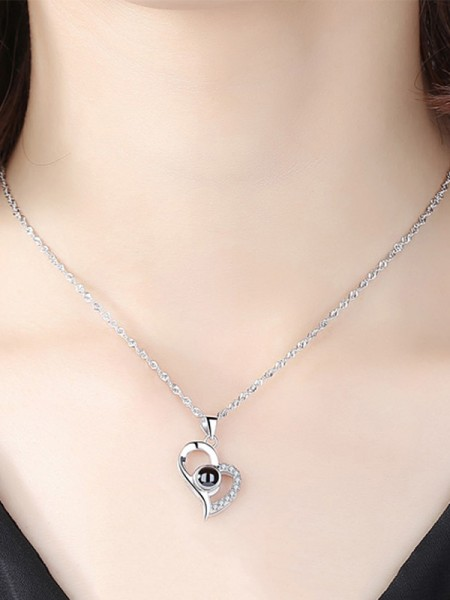 Women Romantic S925 Silver With Rhinestone Necklaces
