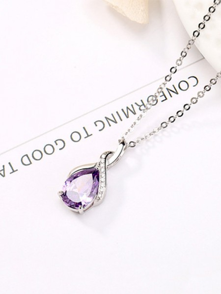 Elegant 925 Sterling Silver With Rhinestone Womens Necklaces