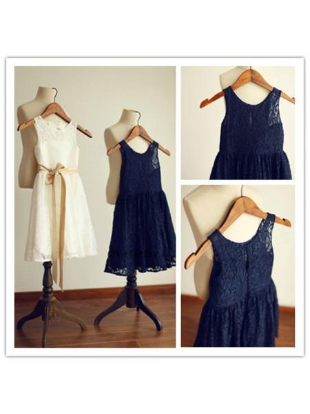 A-Line/Princess Tea-Length Lace Sleeveless Scoop Sash/Ribbon/Belt Flower Girl Dresses