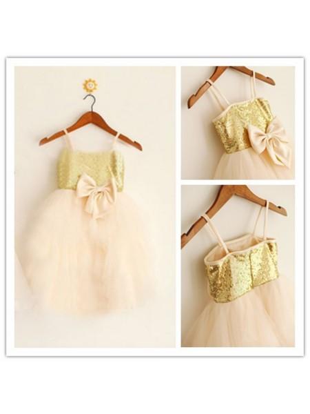 A-Line/Princess Tea-Length Tulle Sleeveless Spaghetti Straps Sequin Flower Girl Dresses