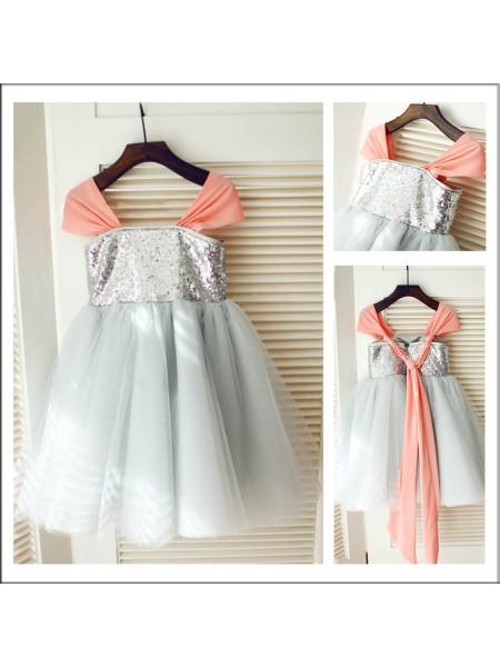 A-Line/Princess Tea-Length Tulle Sleeveless Straps Sequin Flower Girl Dresses