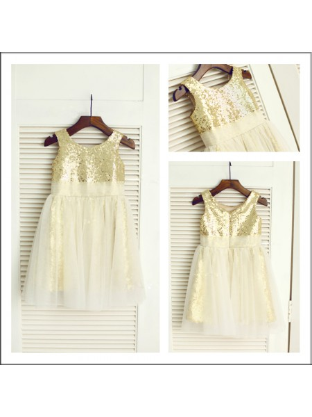 A-Line/Princess Tea-Length Sequins Sleeveless Scoop Sequin Flower Girl Dresses