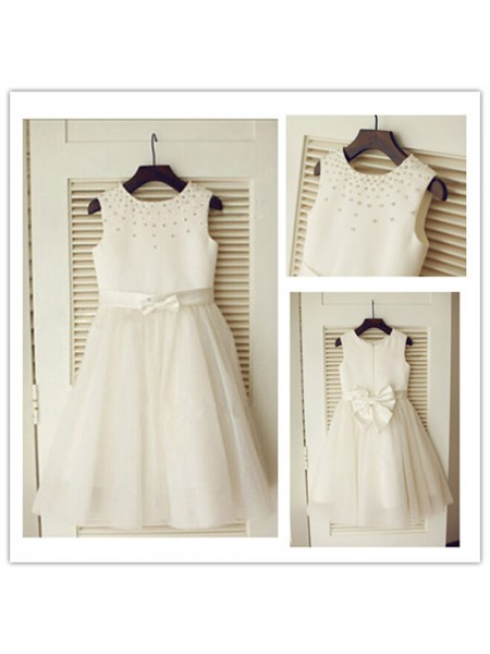 A-Line/Princess Tea-Length Tulle Sleeveless Scoop Bowknot Flower Girl Dresses