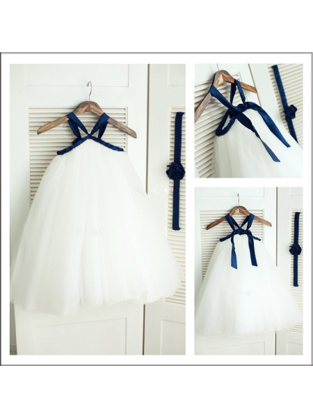 A-Line/Princess Tea-Length Tulle Sleeveless Spaghetti Straps Other Flower Girl Dresses