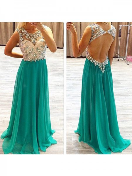 A-Line/Princess Sweep/Brush Train Chiffon Sleeveless Sheer Neck Beading Dresses