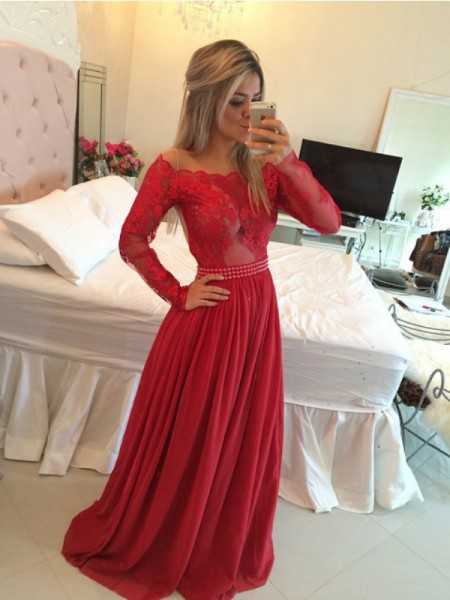 A-Line/Princess Sweep/Brush Train Chiffon Long Sleeves Off-the-Shoulder Applique Dresses