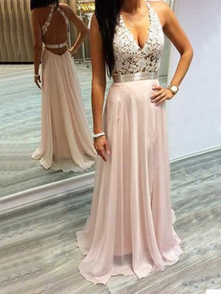A-Line/Princess Sweep/Brush Train Chiffon Sleeveless Halter Lace Dresses