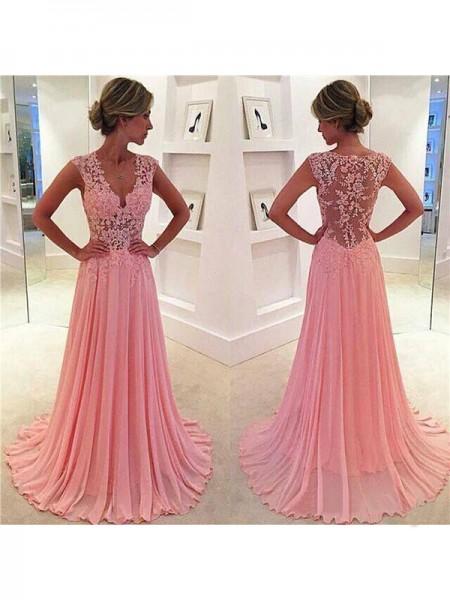 A-Line/Princess Sweep/Brush Train Chiffon Sleeveless V-neck Lace Dresses