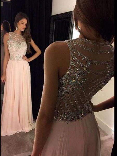 A-Line/Princess Floor-Length Chiffon Sleeveless Scoop Crystal Dresses