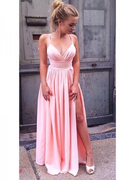 A-Line/Princess Floor-Length Chiffon Sleeveless Straps Ruched Dresses