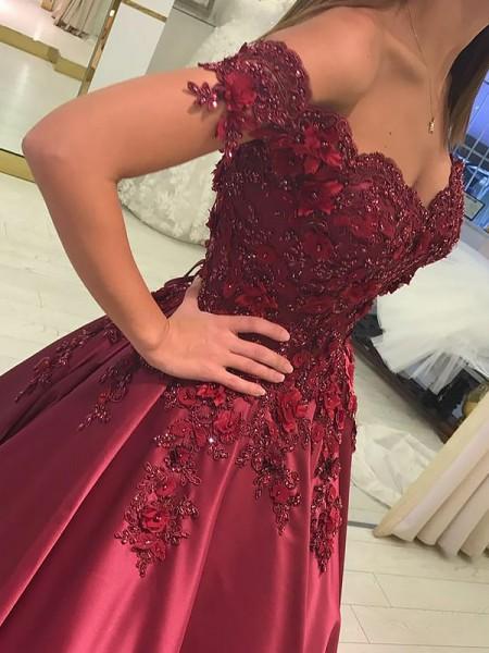 Ball Gown Floor-Length Satin Sleeveless Off-the-Shoulder Applique Dresses