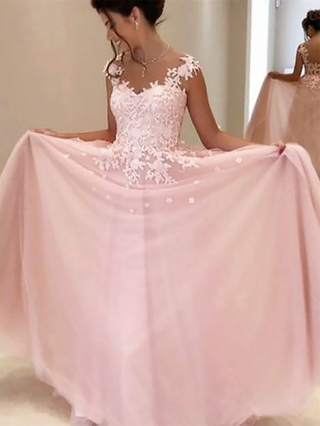 A-Line/Princess Sleeveless Applique Tulle Floor-Length Sweetheart Dresses