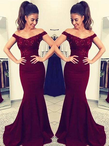Trumpet/Mermaid Sweep/Brush Train Satin Sleeveless Off-the-Shoulder Lace Dresses
