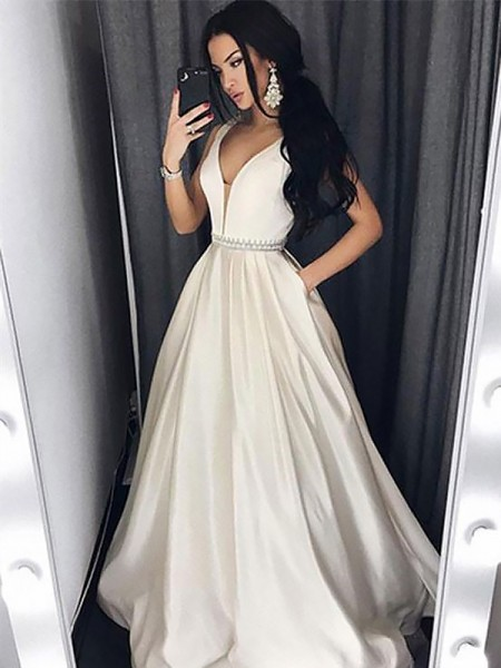A-Line/Princess Floor-Length Satin Sleeveless V-neck Beading Dresses