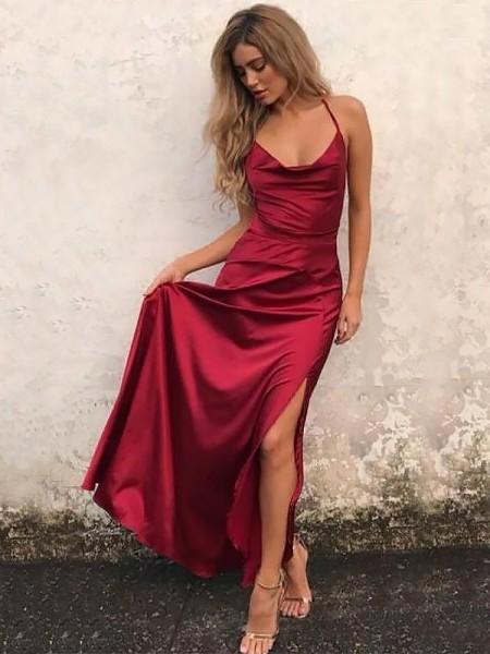 A-Line/Princess Sleeveless Ruffles Elastic Woven Satin Floor-Length Spaghetti Straps Dresses