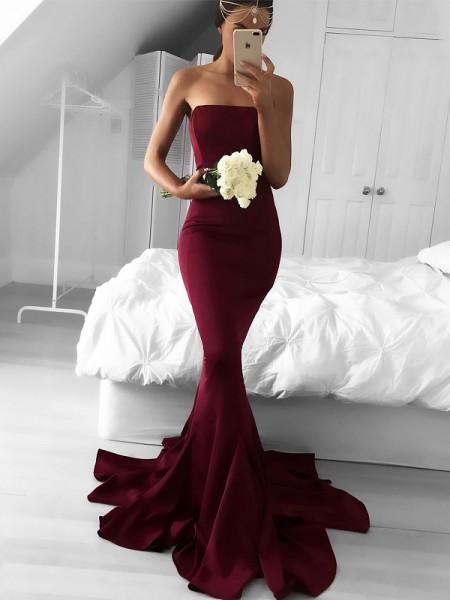 Trumpet/Mermaid Strapless Sweep/Brush Train Jersey Ruffles Dress