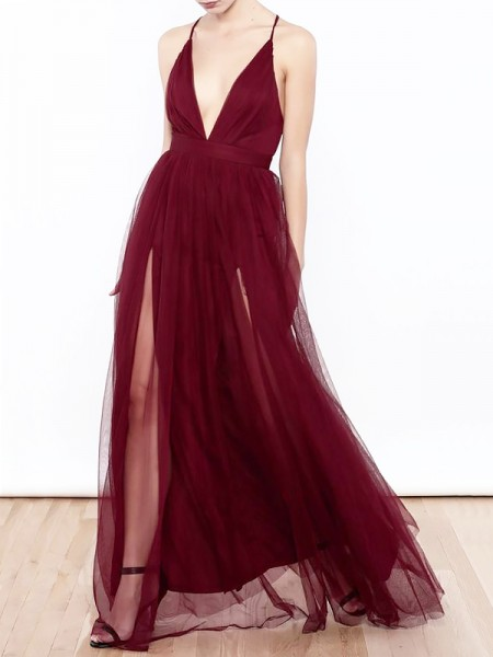 A-Line/Princess Floor-Length Ruffles Tulle V-neck Dress