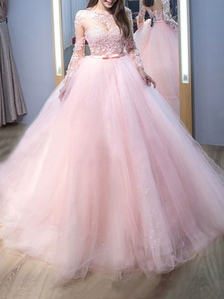 Ball Gown Sweep/Brush Train Tulle Long Sleeves Jewel Lace Dresses
