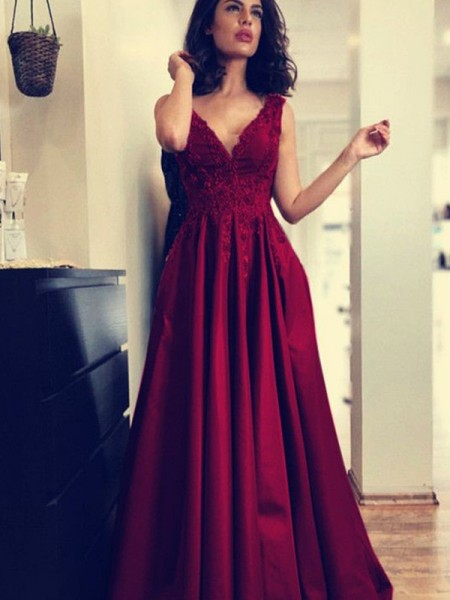 A-Line/Princess Sleeveless Applique Satin Sweep/Brush Train V-neck Dresses
