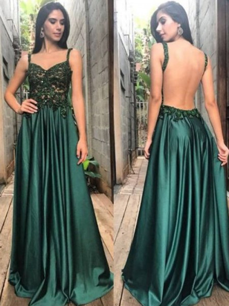 A-Line/Princess Sleeveless Applique Satin Floor-Length Straps Dresses