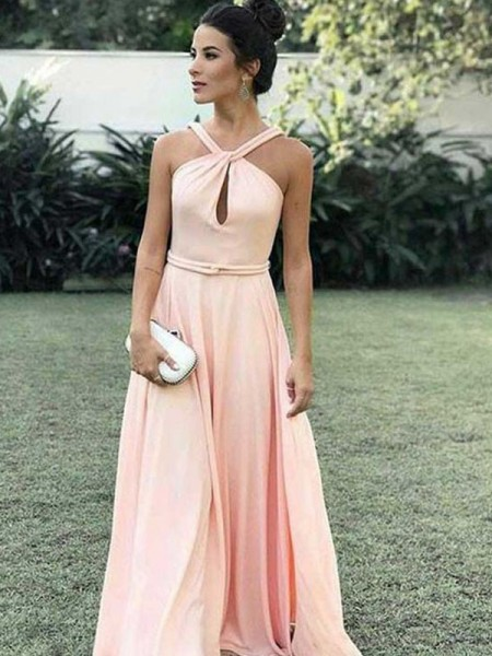 A-Line/Princess Sleeveless Ruffles Chiffon Floor-Length Halter Dresses