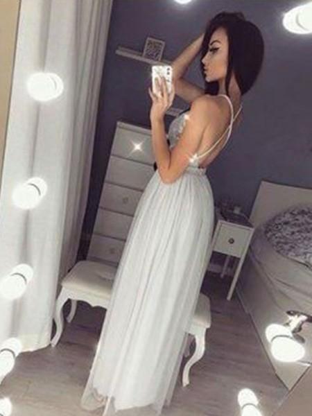 A-Line/Princess Sleeveless Beading Chiffon Floor-Length V-neck Dresses