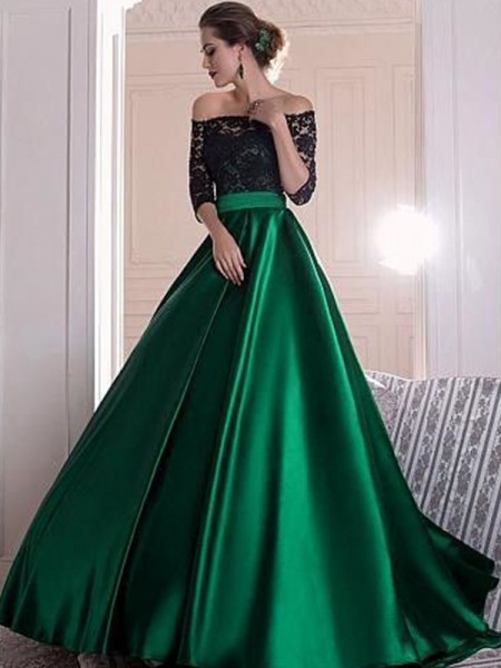 A-Line/Princess 3/4 Sleeves Ruffles Satin Sweep/Brush Train Off-the-Shoulder Dresses