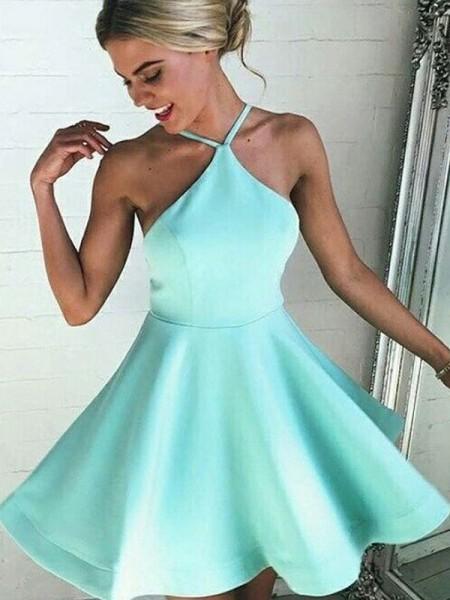 A-Line/Princess Satin Halter Pleated Short/Mini Dress