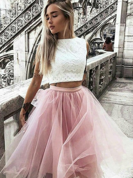 A-Line/Princess Tulle Bateau Knee-Length Two Piece Dress with Lace