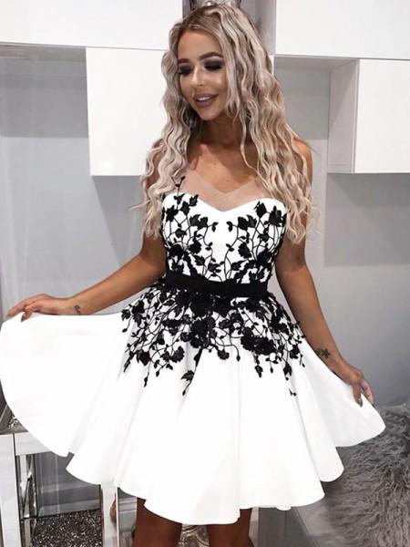 A-Line/Princess Sweetheart Satin Applique Short/Mini Dress