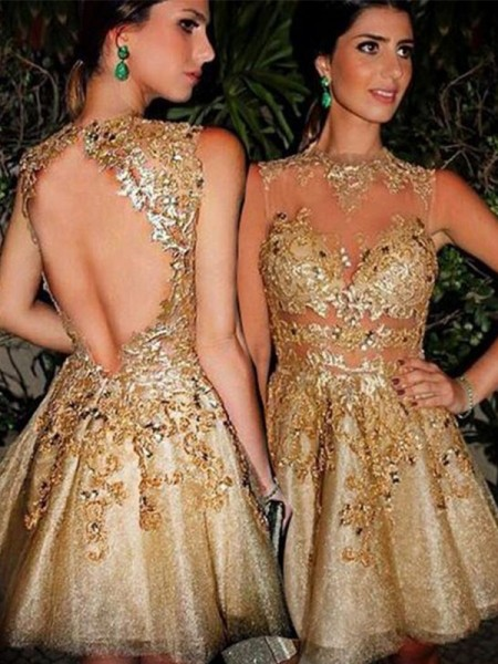 A-Line/Princess Bateau Tulle Applique Short/Mini Dress