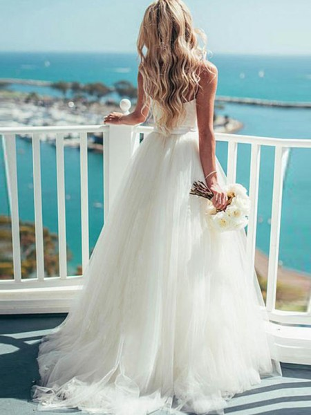 Ball Gown Tulle Sash Sweetheart Sleeveless Sweep/Brush Train White Wedding Dresses